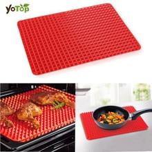 YOTOP 2 izmēra sarkanā silikona cepšanas paklāja silikona plāksnes mat cepeškrāsns cepšanas paplātes, kas nav stick mat Virtuves rīku grila ārpusē