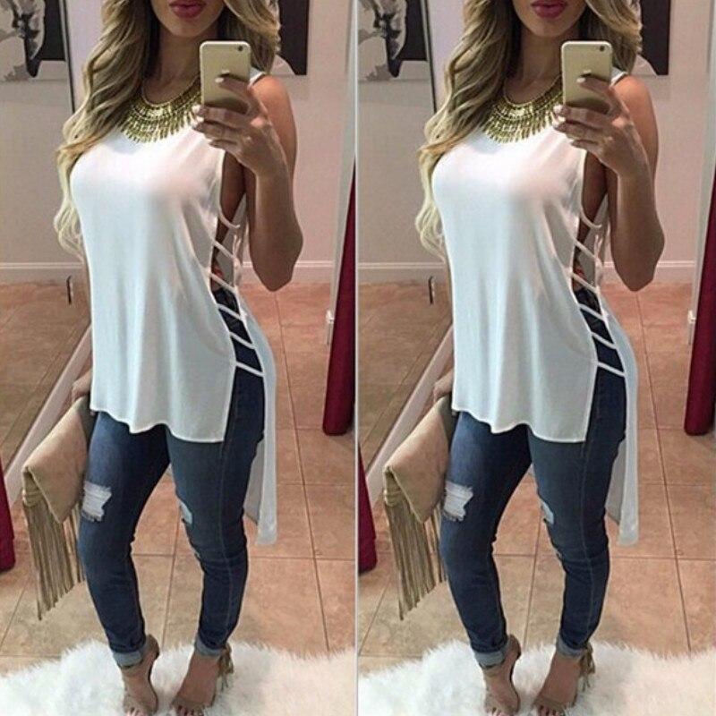Fashion Woman   Blouses   2019 Sexy Side Hollow Out Women's   Blouse     Shirt   Swallow Tail Bandage Sleeveless Feminine Top Chiffon   Shirt