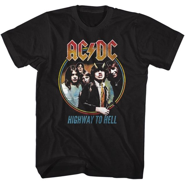 01506a2a0 ACDC Mens T-Shirt MENS HIGHWAY TO HELL 100% Cotton BLACK Tee in SM - 5XL