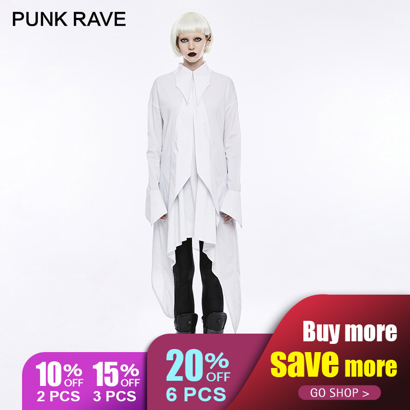 PUNK RAVE 2018 Gothic Triangle Plastic Zipper Bat Wing Pattern Shirt Dress Simple Loose Cotton Women Novelty Halloween Christmas