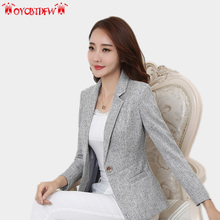 Autumn women coat 2018 fashion new solid color Plus size Notched Long sleeves Thickeing Single Button Slim female Blazers ll612 plus button decoration solid coat