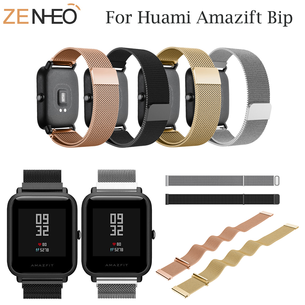 20mm for Xiaomi Huami Amazfit Bip Youth Lite Bracelet for Amazfit Strap Milanese Loop Watch Strap Stainless Steel Wrist Band in Watchbands from Watches