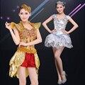 Mujer de Oro Y Plata de Las Lentejuelas de Baile de Jazz Moderno Vestuario Teatral Actuaciones Puff Falda Vestido de Cantante de Club Nocturno Traje Leotardo