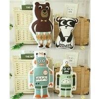 패션 사랑스러운 만화 동물 팬더 곰 로봇 쿠션 베개 아기 진정 수면 인형 인형 장난감 아이 소년 장식