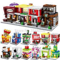 Pojedyncze Mini Legoinglys miasto seria uliczna jedzenie cukierki Pizza lody sklep księgarnia MOC klocki zabawki edukacyjne dla dzieci
