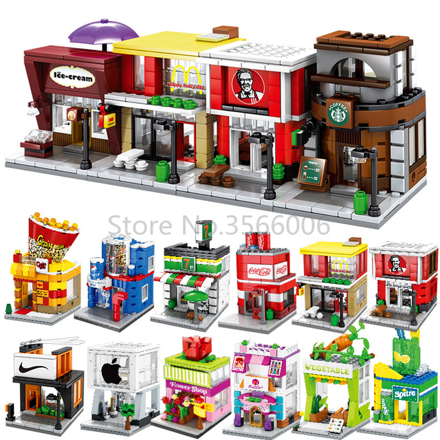 Single Mini City Street Series Food Candy Pizza Ice Cream Shop Bookstore MOC Building Blocks Kids