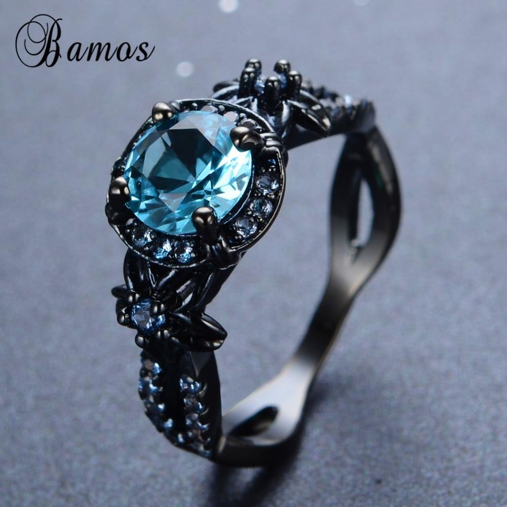 Bamos Female Male Light Blue Round Ring Black Gold Filled