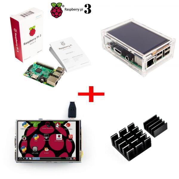Raspberry Pi3 Model B Board+ 3.5 TFT Raspberry Pi3 LCD Touch Screen Display + Clear Case for Raspbery Pi 3 Pi2 Kit
