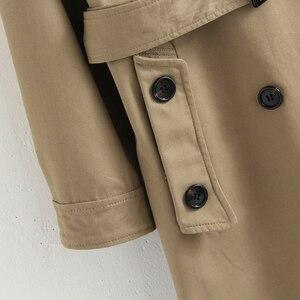 Image 4 - Vee Top – Manteau croisé décontracté et solide style trenchcoat pour femme, coloré, vêtements dextérieur, mode de bureau, avec épaulettes chics, 902229