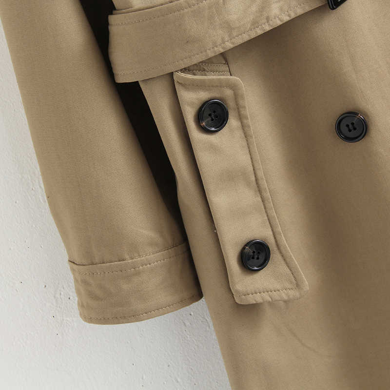 Vee Top ผู้หญิงลำลอง double breasted outwear แฟชั่น sashes office coat chic epaulet design ยาว 902229