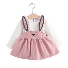 Children Spring/Autumn Fashion Dress Clothing Girl Clothes Long Sleeve Animal Rabbit Dress Cute Girls Vestidos Meninas