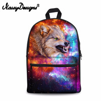 Wild wolf in Starry sky 3D Printing Shoulder Backpack for Teen students kid gifts bag Customize image Children Schoolbag
