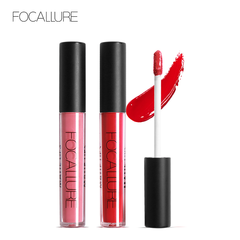 Focallure Lip Tint Cosmentic Waterproof Lipgloss Pigment Red Purple Brown Color Sexy Lip kit Matte Liquid Lipstick Nude Makeup morphe black and white brush set