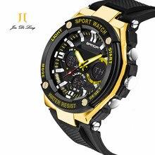 2016 новый двойной часовой механизм открытый многофункциональный электронные часы мужчины водонепроницаемый спортивные часы