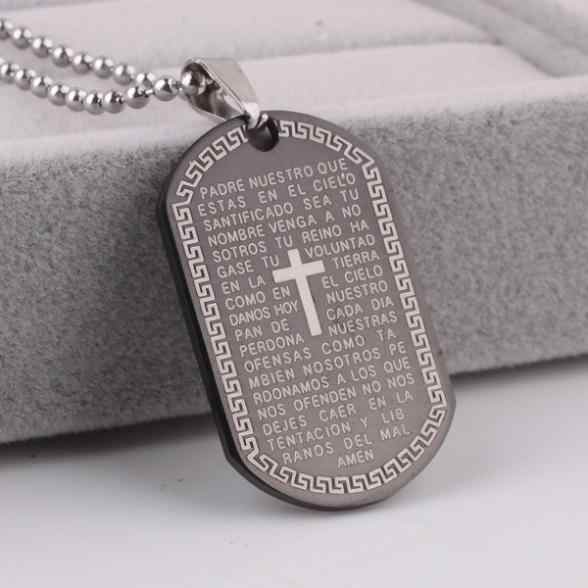 free shipping Black cross Bible Ellipse pendant necklaces bead chain for men 316L Stainless Steel necklace wholesale