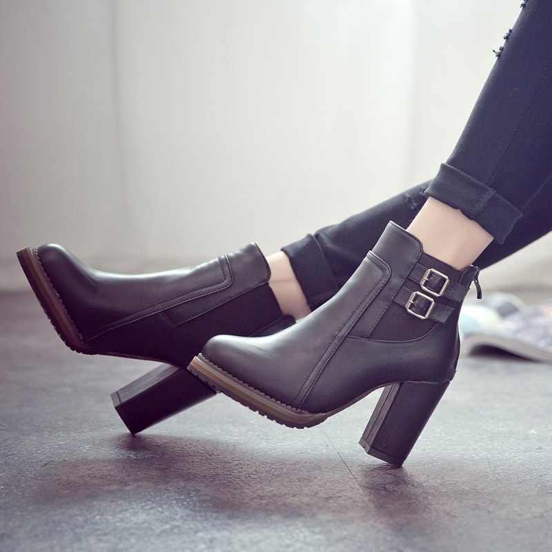 2018 Yeni Kadın Çizme Sonbahar Kış kısa çizmeler yüksek topuklu kadın ayakkabıları yeni Botlar Kadınlar yarım çizmeler Siyah Kadın Ayakkabı