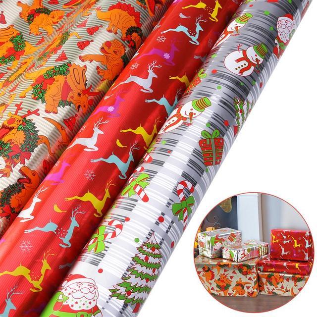 3 Rouleaux De Noël Diy Emballage Cadeau Papier Cadeau Wrap