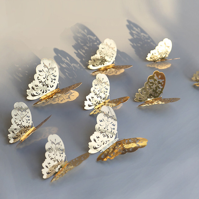 12 Pcs/Set 3D Wall Stickers Butterfly Hollow Paper 3Sizes Silver Gold For Fridge Stickers Home Party  Wedding Decor F507