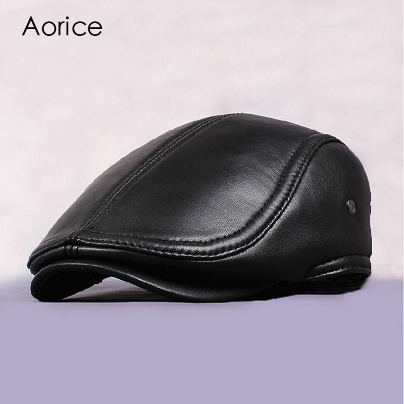 New Design Men 100% Genuine Leather Fashion   Baseball     Cap  /Newsboy /Beret /Cabbie Hat/ Golf Hat Flat Men Slide High Quality HL041