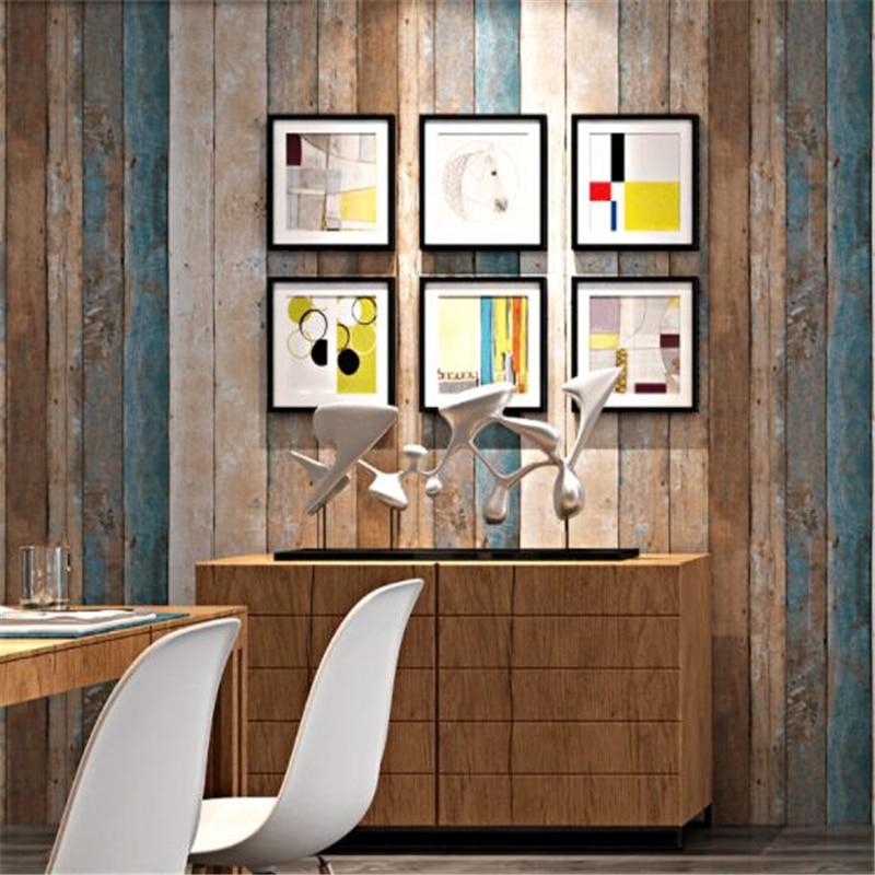 beibehang Retro Vintage Scandinavian Style Faux Wood Grain Board Antique Wallpaper Industrial Style Bar Restaurant wallpaper antiskid flannel vintage wood grain map rug