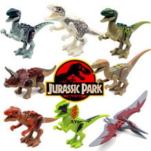 8pcs Jurassic World Park Minifigures Dinosaur Bricks Mini Figures Building Blocks Super Heroes baby Compatible With Legoe toys