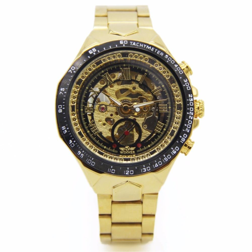 WINNER Gold Men Auto Skeleton Dial Mechanical Watch Stainless Steel Strap Fashion Steampunk Montre Homme Wrist Watch /PMW511 shenhua 9269d antique bronze skeleton dial steel band men auto wirstwatch montre homme heren horloges
