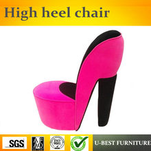 U-BEST High quality high heel shoe chair receliner chair,wooden salon high heel leisure upholstered chair(China)