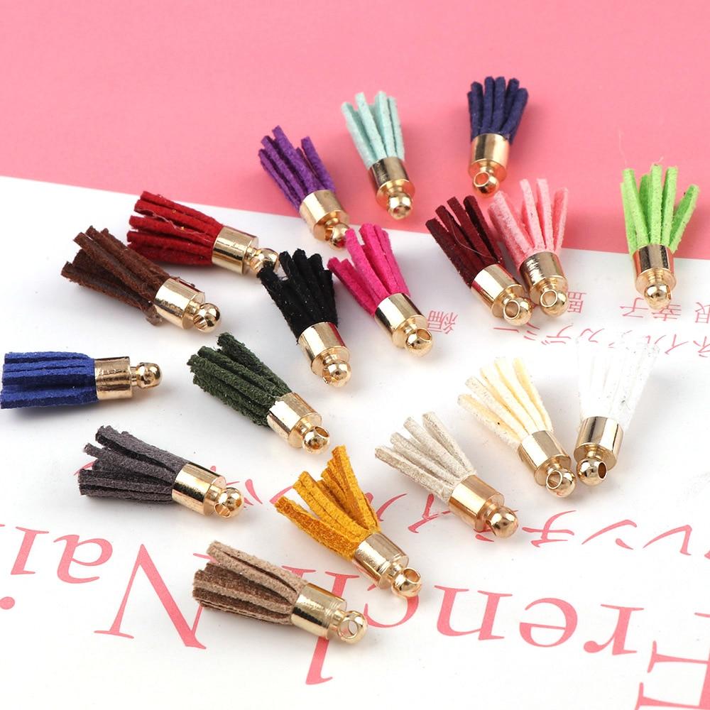 30Pcs Mini Leather Tassels 4cm Vintage Fringe Purl Macrame DIY Jewelry Keychain