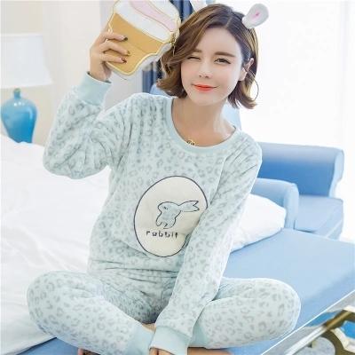 El otoño y el invierno de coral pijama de terciopelo grueso de la historieta encantadora caliente del invierno señora pijamas de franela pijamas de las mujeres pijamas de invierno