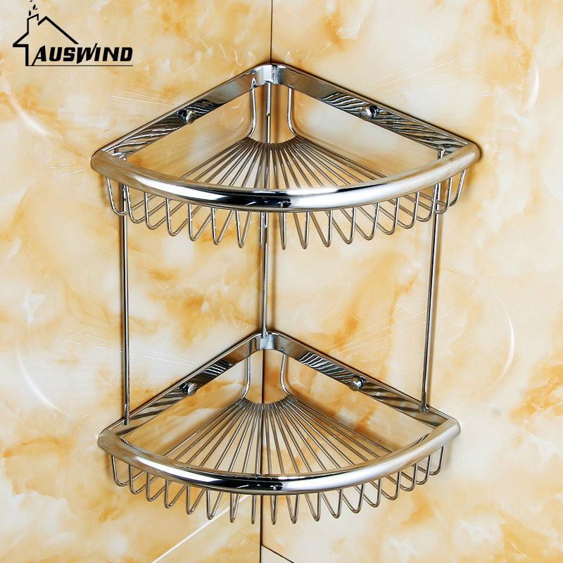 Modern Silver Solid Brass Bathroom Shelf Polished Chrome Cosmetic Holder 2-layer Makeup Bathroom Accessories Products LK02