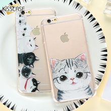 Sweety Gatos Caso Modelado Para o iphone X 6 BEIJOS S 6 7 8 Plus Transparente Macio TPU Tampa Do Telefone Para caso iPhone 5 XS Max X XR 5S(China)