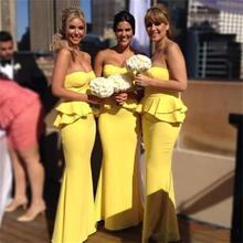 2015 Yellow Bridesmaid Dress Sweetheart Ruffles Pleat Satin Mermaid Floor-Length Robe Demoiselle Honneur Biridesmaid Dresses