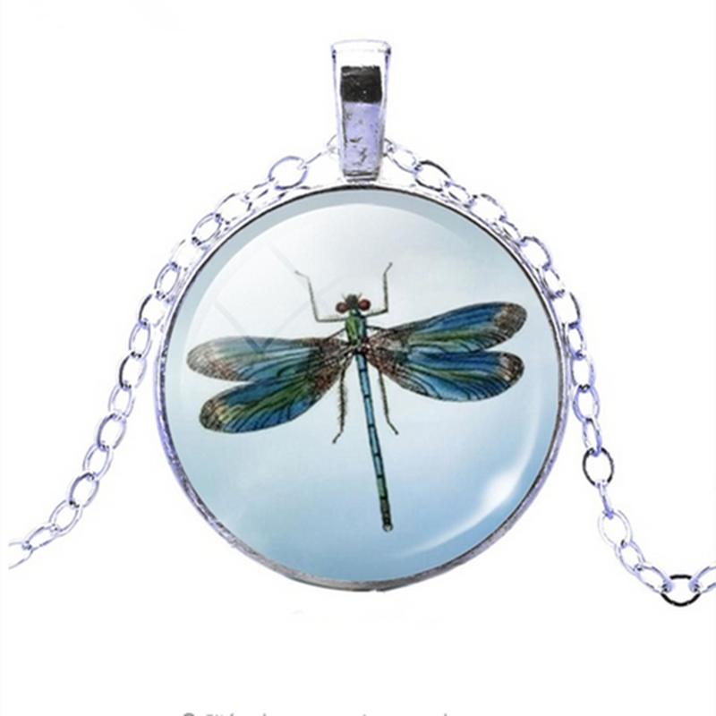 YAUTIONสวยน่ารักแมลงปอคริสตัลเจียรหลังเบี้ยจี้แฟชั่นสีเงินโซ่สร้อยคอสำหรับผู้หญิงเครื่องประดับหรูหรา