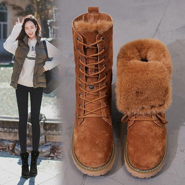 5bfe22bbe5434 Bottes Chaussures Chelsea En Furry Dame Botte Peluche Bota Long Neige Femmes  Caoutchouc Dentelle 2 Femme ...