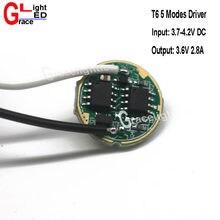 Pilote DC3.7V 5 lampe de poche LED à Modes pour CREE XML-T6 U2 /XML2 10W lumière LED lampe/torche 1 pièce