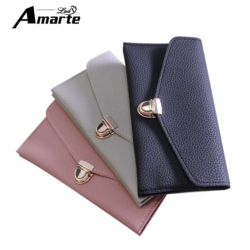 цены на Women Wallets 3 Colors Purses Female Coin Purse Card Holder Wallet PU Leather Solid Hasp Wallet Ladies Long Clutchs carteira