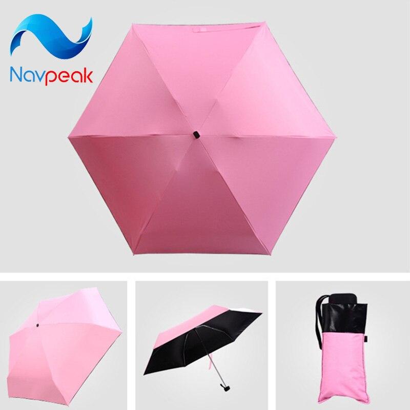 20 pcs/lot lumière mini cinq fois parasol parasol-anti-uv ombre parapluie noir plastique poche pliant clair crayon parapluie