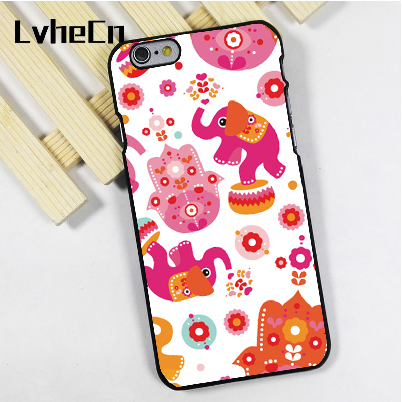 LvheCn phone case cover fit for iPhone 4 4s 5 5s 5c SE 6 6s 7 8 plus X ipod touch 4 5 6 Elephants Hamsa Hand