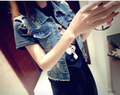 Новый летний 2015 женщин ретро джинсовый жилет без рукавов короткие джинсовые жилет жан мотокуртки лето джинсовая одежда ковбоев жилет пальто
