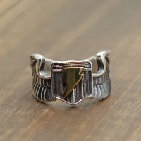 Solid Silver 925 Mens Rings Wings Golden Blade Male Cuff Band 100% Real 925 Sterling Silver Cool Thai Silver Jewelry Men