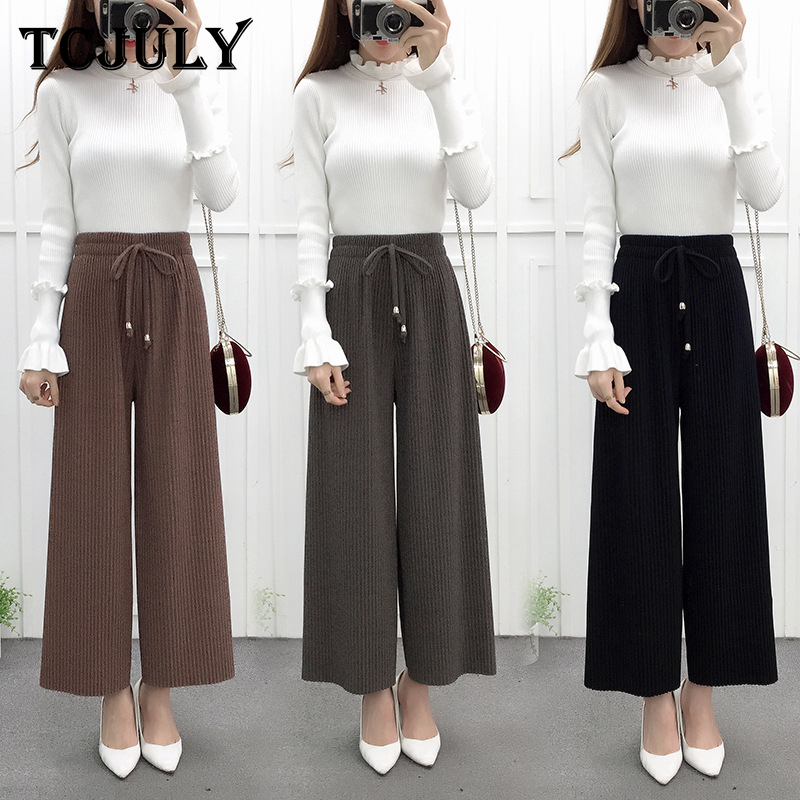 TCJULY Spring Autumn Winter Streetwear Pleated   Wide     Leg     Pants   Women High Waist Drawstring Trousers Solid Warm Loose Casual   Pants