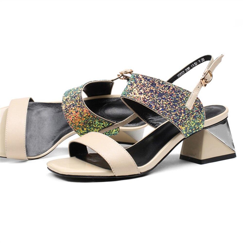 Smirnova bling tacco di spessore 2020 di estate nuovo scarpe donna fibbia sandali eleganti delle donne del cuoio genuino scarpe tacchi alti beige-in Tacchi alti da Scarpe su  Gruppo 3