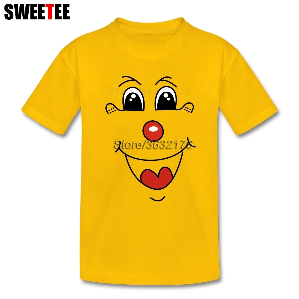 Clown Face Line Art T Shirt Baby Pure Cotton Short Sleeve Tshirt childrens Clothing 2018 New Arrival T-shirt For Boys Girls