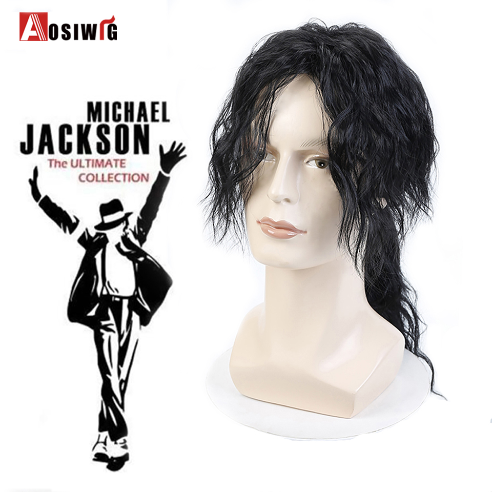 AOSIWIG Black Middle Long Wavy Curly Wigs Synthetic Hair Heat Resistant Fiber Fashion Men Cosplay Wigs