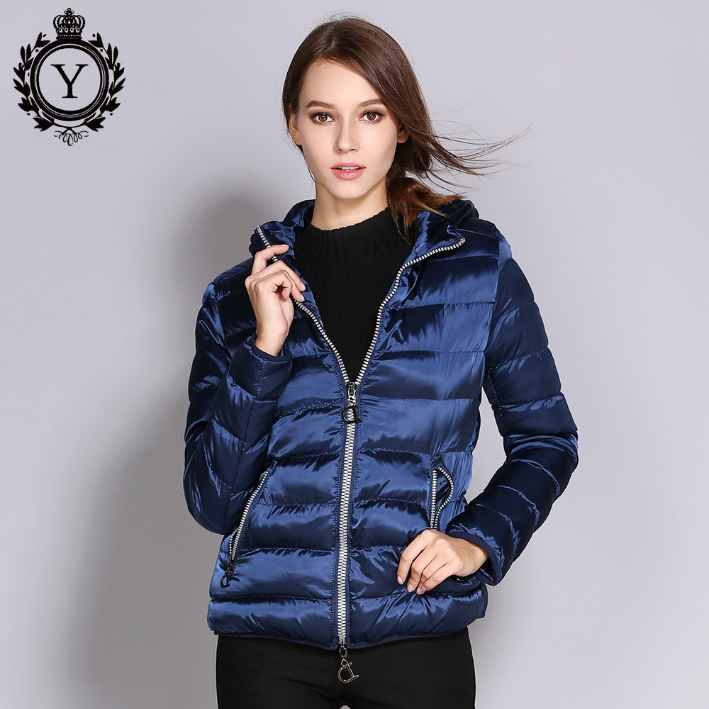 COUTUDI Winter Women Jacket Short Slim Female Warm Coat Shiny Nylon Solid Royal Blue   Parkas   and Coats Waterproof Outwear Jackets