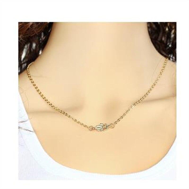 Petit pendentif main chanceux Hamsa collier or Rose argent cristal clair à la mode