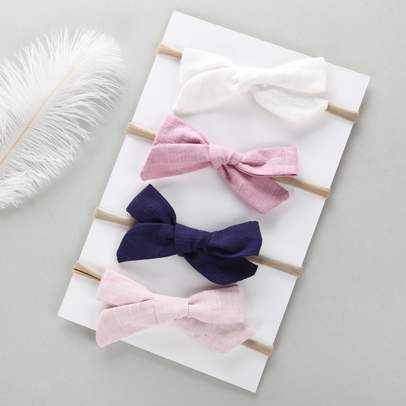 4 Pcs/lot , Hand Tied Cotton Linen Hair Bow Nylon Headband, School Girl Bow Headbands Hair Accessory