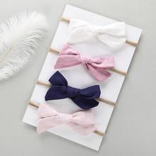 4 pcs/lot , Hand Tied Cotton Linen Hair Bow Nylon headband, School Girl Bow Headbands Hair Accessory