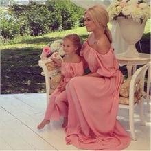 Mère fille robes 2017 sans bretelles en mousseline de soie mère fille robes correspondant maman et moi vêtements famille rechercher mère fille