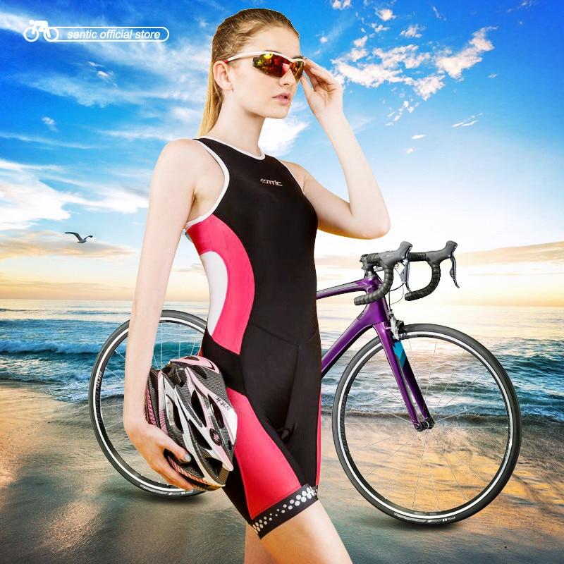 Santic Triathlon Clothing Women Cycling Sleeveless Jerseys Triathlon Skinsuit for Swimming Running Cycling Ciclismo LC03001 santic black triathlon clothing men